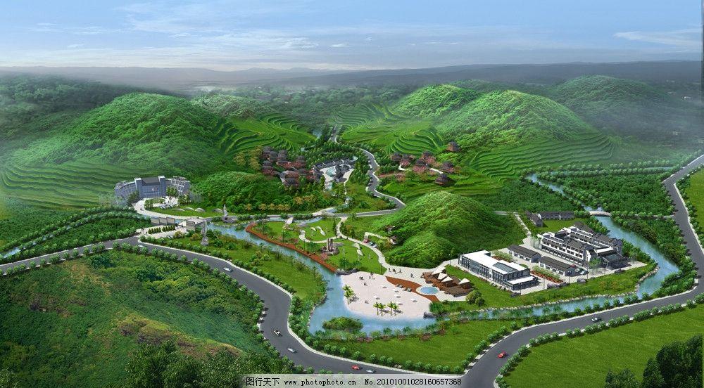 景观效果图 建筑效果图 森林 山路 鸟瞰图 建筑景观效果图 后期制作
