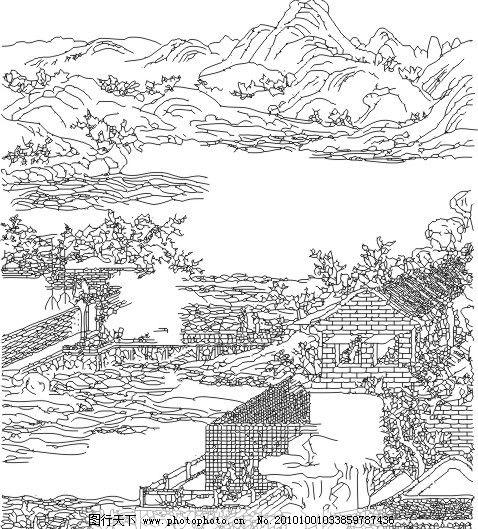 古代房屋 古代环境 素描山