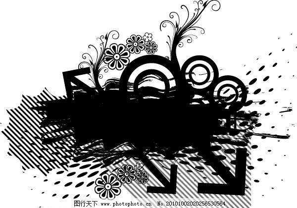黑白背景矢量图形 花纹 花边 梦幻线条 圆形 网纹 泼墨 喷墨 箭头