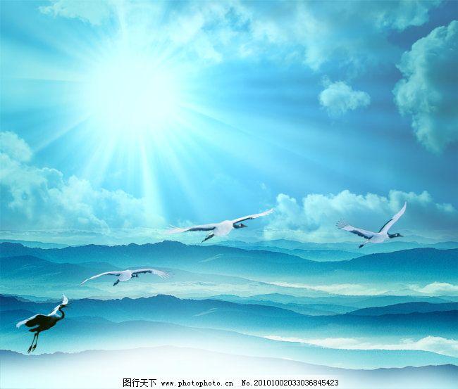 云彩 天空仙鹤 天空 阳光 仙境 风景 背景图素材 仙鹤 群山 飞鸟 云彩