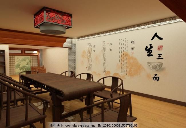 中式茶楼图片,博古架 古典 荷花 花格 栏杆 木柜-图行