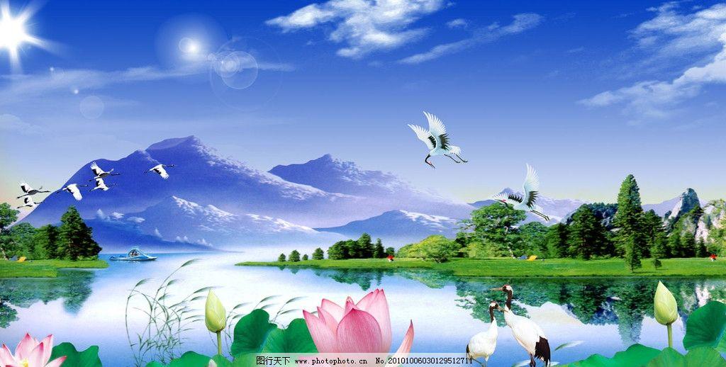 荷塘悦色 移门 仙鹤 荷花 山 山水 风景 树 湖 荷叶 船 芦苇 蓝天