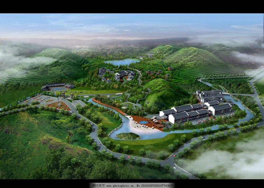 景观效果图 建筑效果图 森林 马路 建筑景观效果图 后期制作 公园