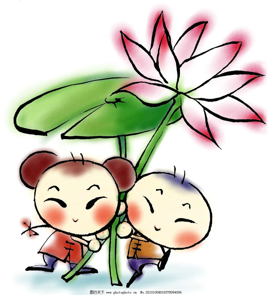 风娃娃 中国风 荷叶 夏天 端午 莲藕 莲子 动漫人物 动漫动画 设计