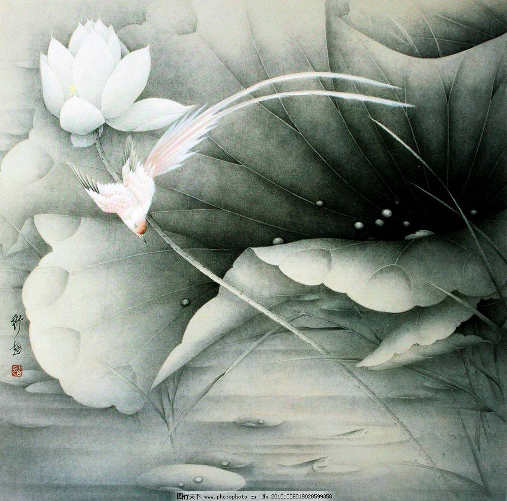 野趣 美术 绘画 中国画 工笔重彩画 花卉画 荷花 荷林 荷叶 花香 盛开