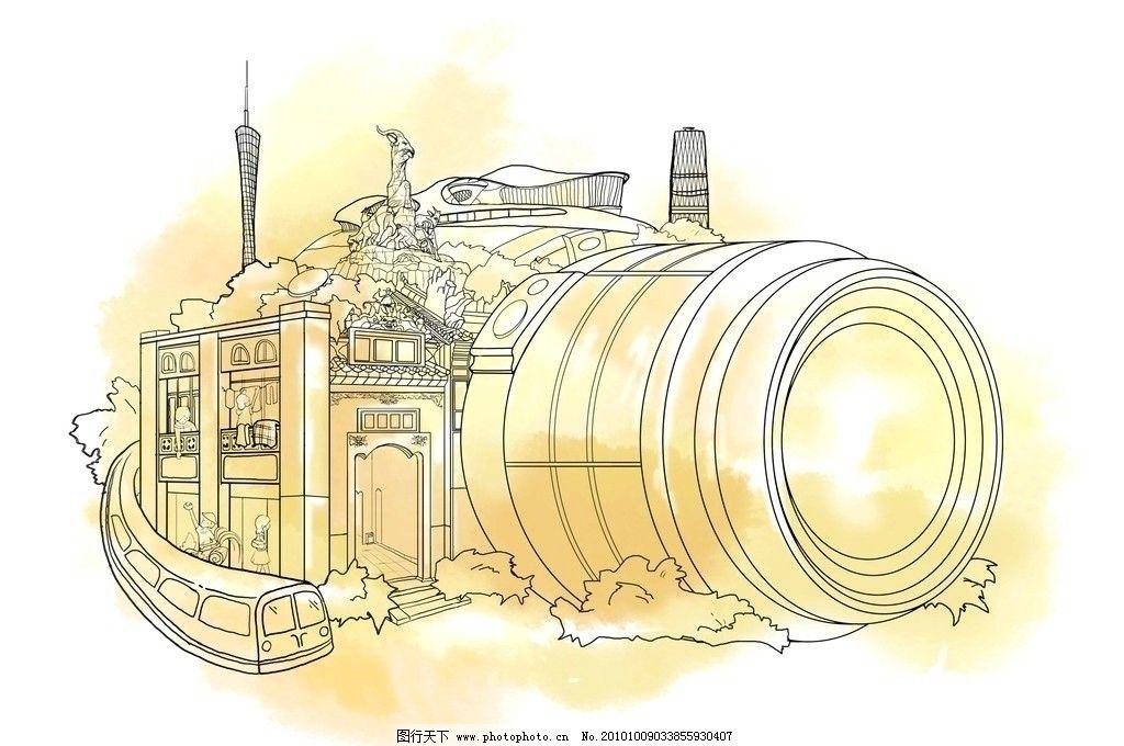 相机 火车 五羊 新电视塔 素描 线条 设计的 其他 源文件