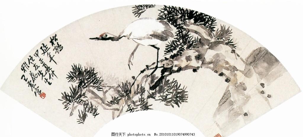 扇形国画 国画艺术 中国风 文化画 中国画 水墨画 松树 仙鹤