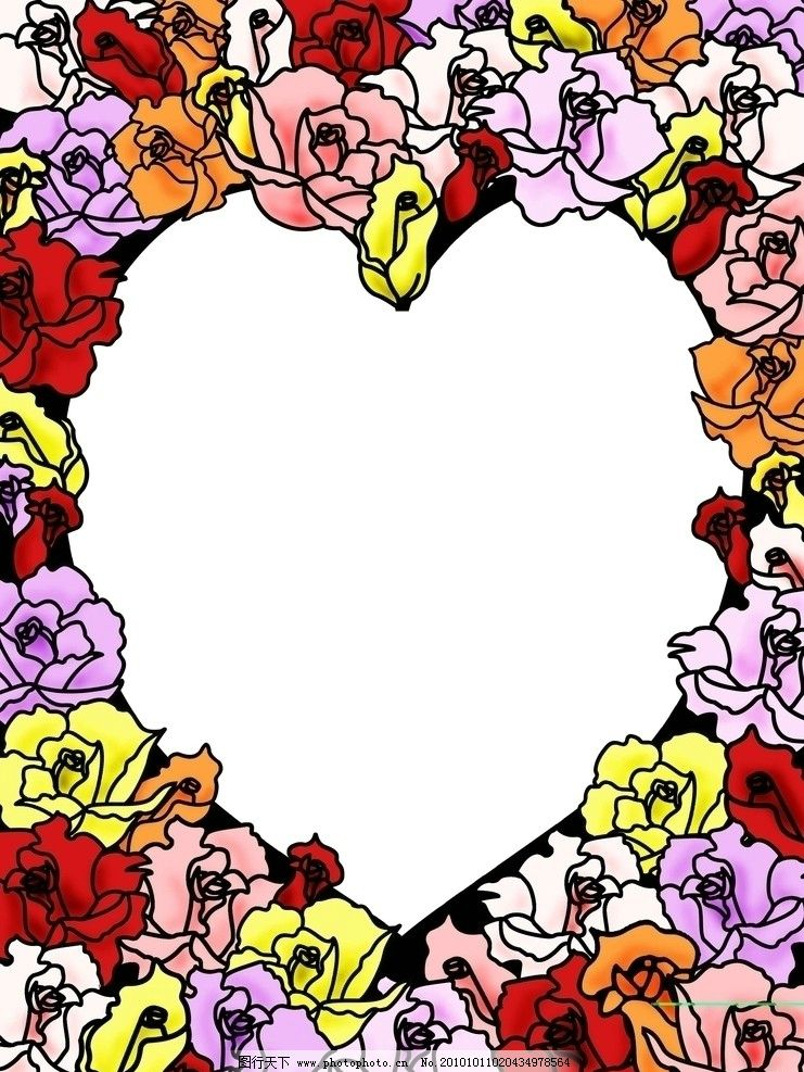 爱情鲜花 鲜花 心 爱情 边框 卡通边框 边框相框 底纹边框 设计 72dpi
