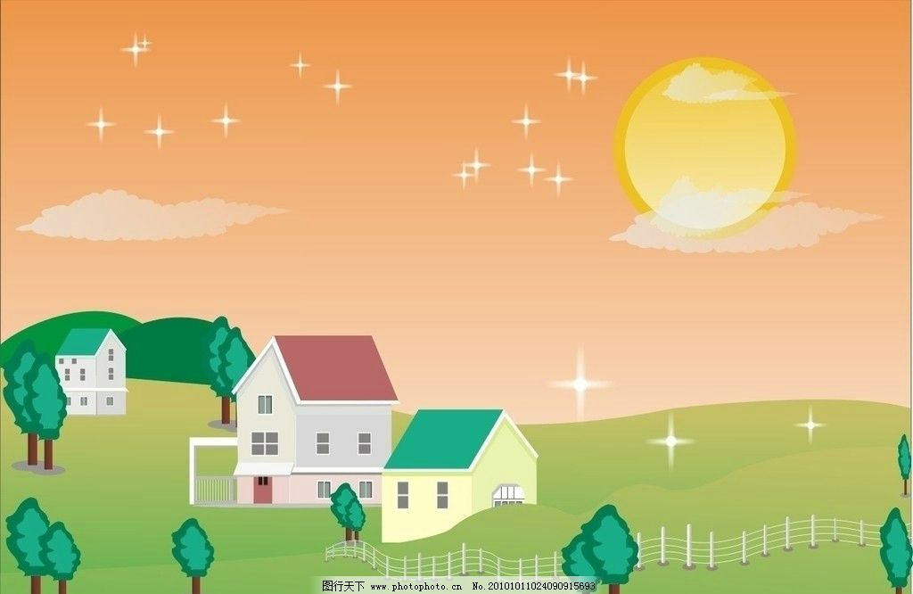 美丽的家园 房子 树 太阳 云彩 田园风光 自然景观 矢量 cdr