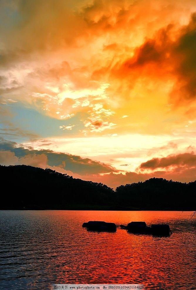 夕阳 火烧云 日落长堤 渔船唱晚 山水风景 自然景观 摄影 300dpi jpg