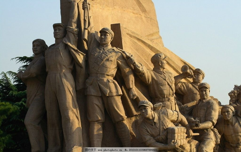 广场雕塑 雕塑 人物 军民 新中国 天安门 红旗 雕塑系列 001 建筑园林