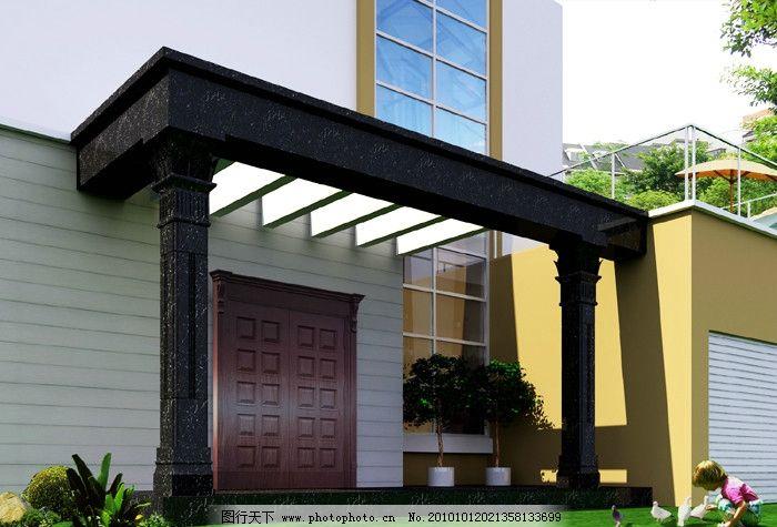 别墅门头 门头 石材柱 铜门 3d设计模型 模型设计 室外模型 源文件 ma
