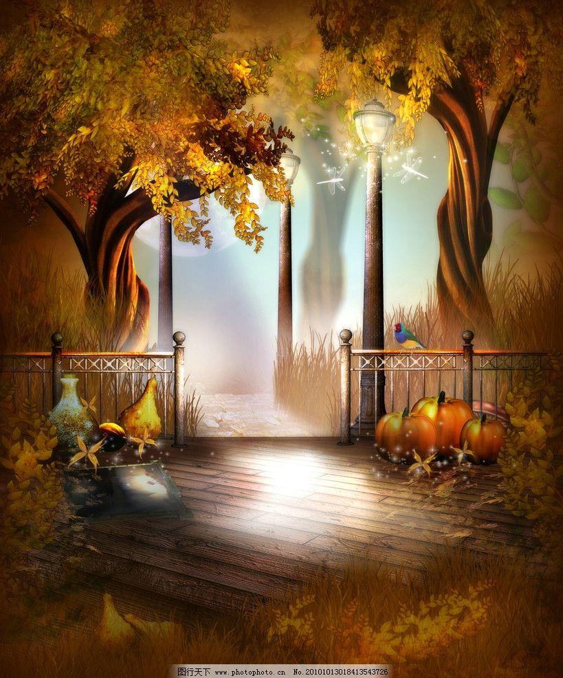 童话背景 夜晚 南瓜 相片模板 梦幻森林 外国建筑风格设计 童话风格