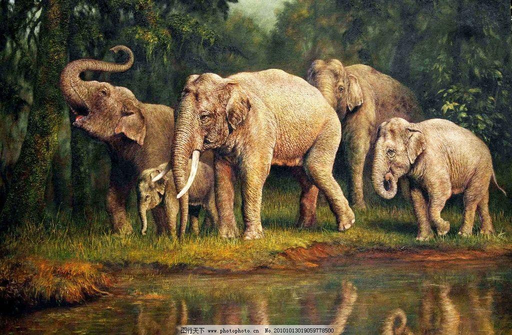 美术 绘画 油画 动物画 森林 树木 树林 大象 小象 草地 湖水 石头 远