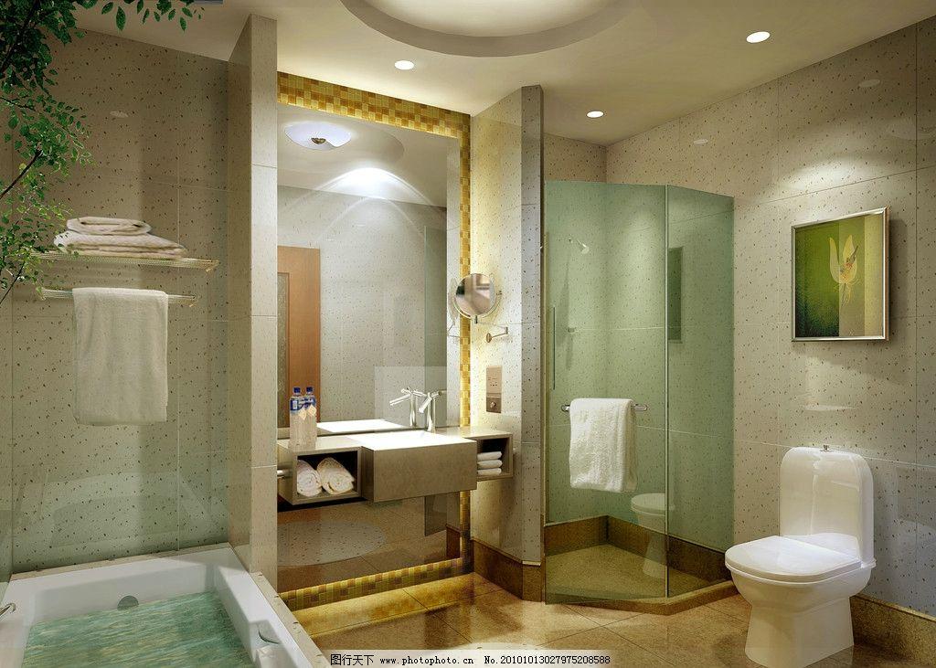 卫生间效果图 浴缸 洗漱台 室内效果图 室内渲染 别墅设计 样板房设计