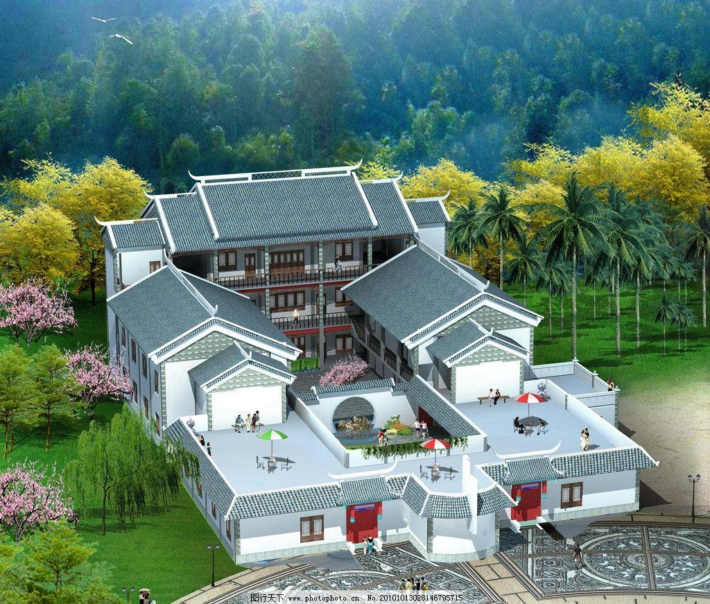庭院 别墅庭院设计效果图 小区景观