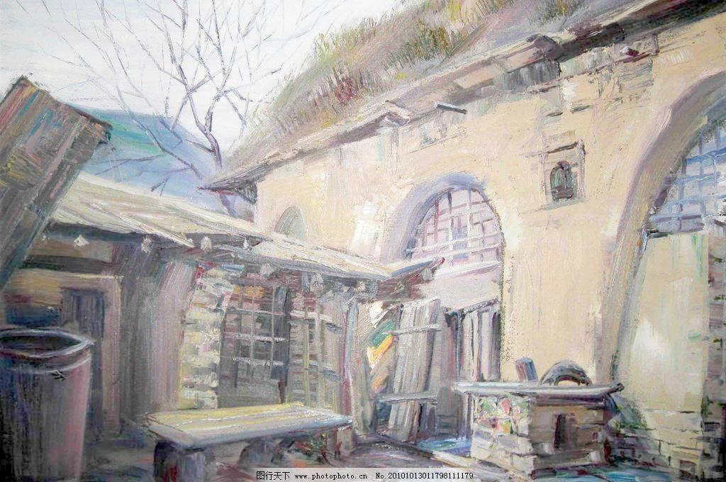 陕北民居模板下载 陕北民居 美术 绘画 油画 风景画 陕北 村子 民房
