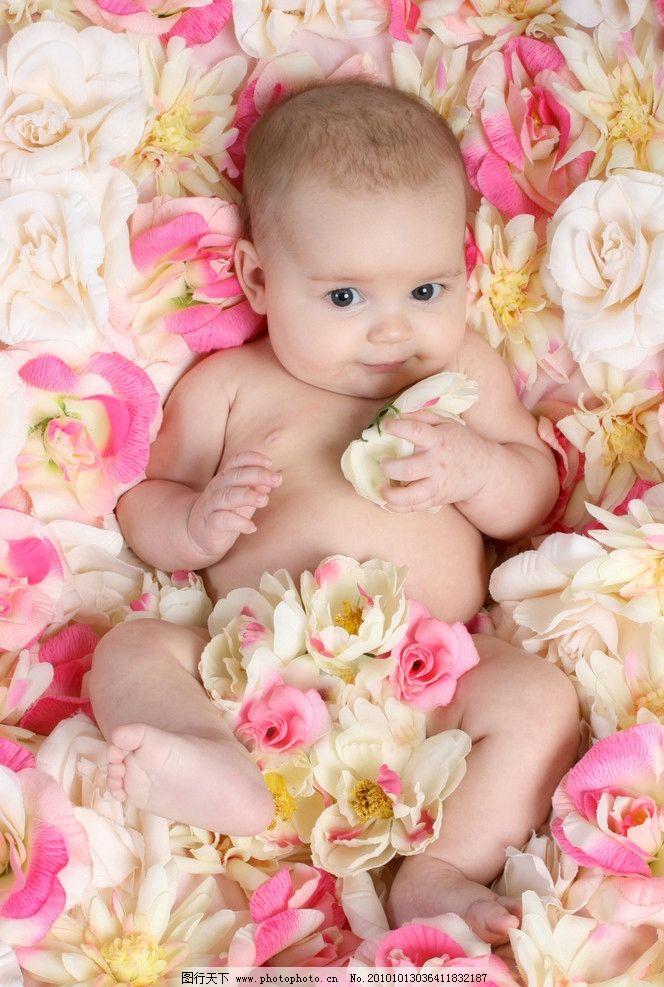 躺在花朵中的可爱婴儿图片