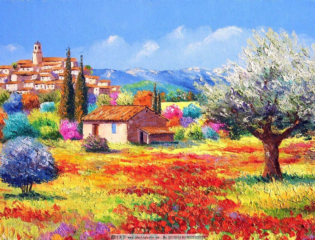 红花 虞美人 树木 树 花草 油画 风景 天空 红树 绿树 山 房子 田园