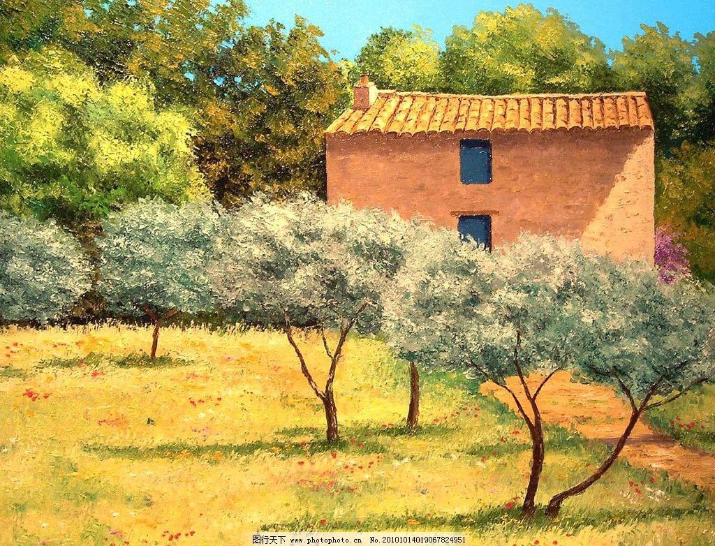 树木 树 花草 油画 风景 天空 红树 绿树 山 房子 田园 油画风景系列