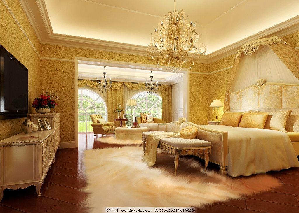 豪华欧式卧室效果图图片