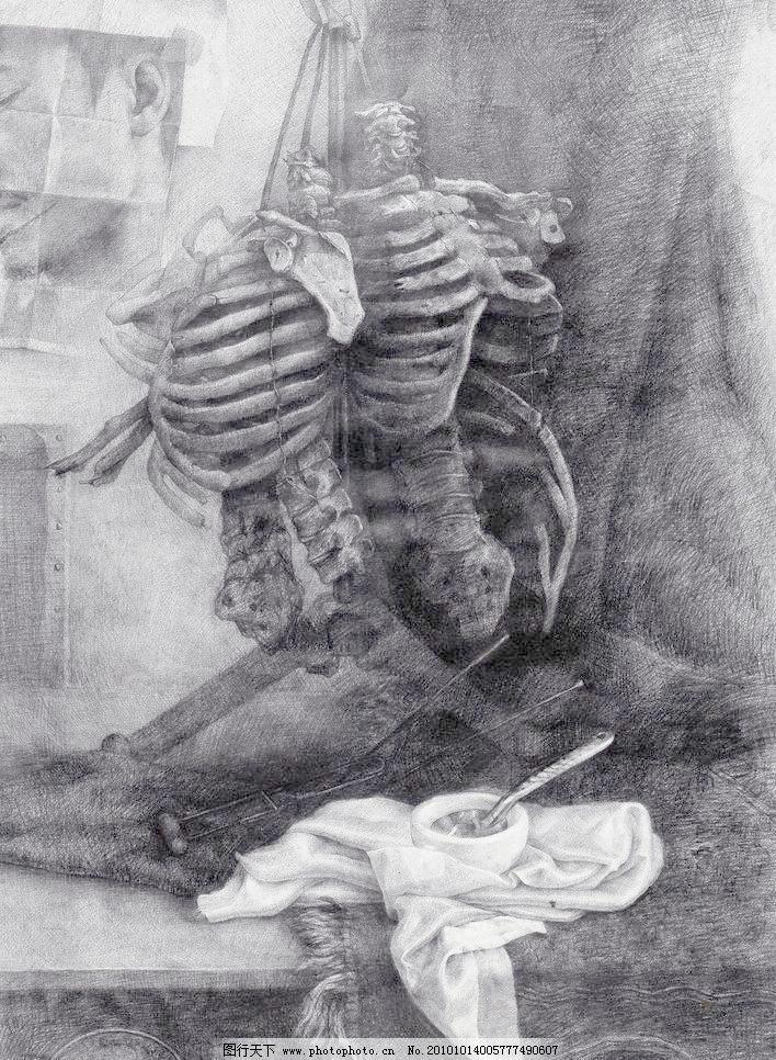 jpg 杯子 布 骨头 黑白画 绘画书法 静物素描 骷髅 勺子 实验素描设计