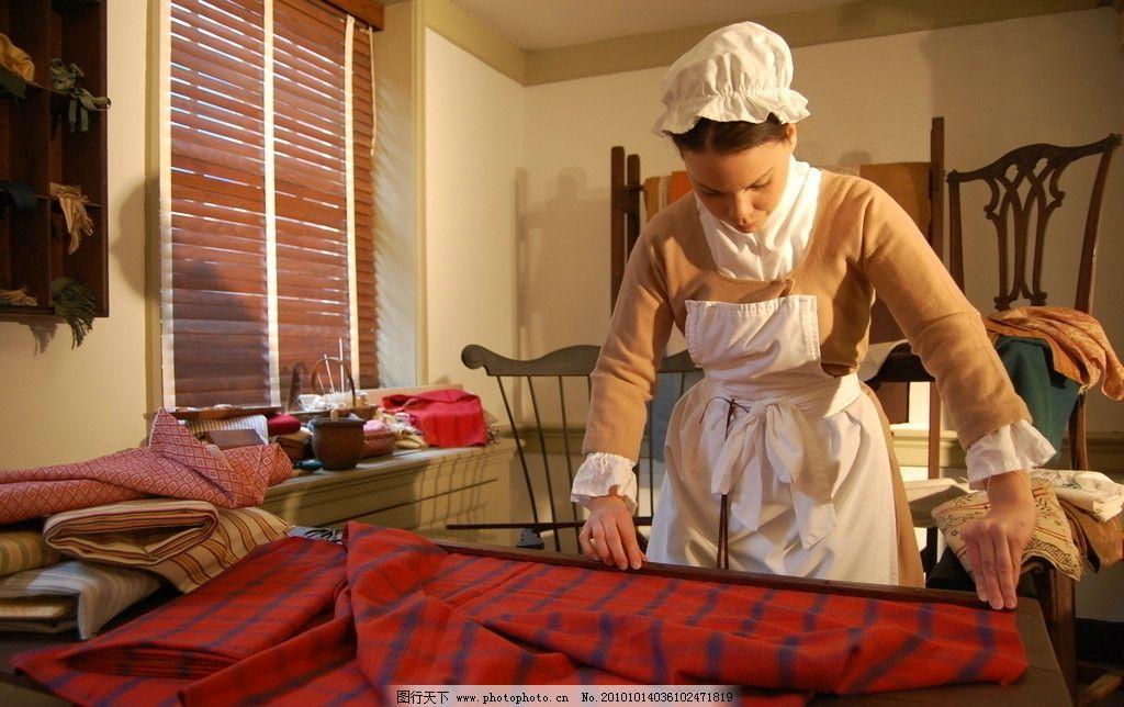 复古缝纫女工图片