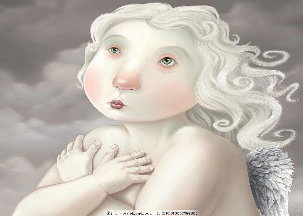 胖女孩 金发 可爱 儿童 金色 白云 落体 裸替 天使 翅膀 胖娃娃 女孩