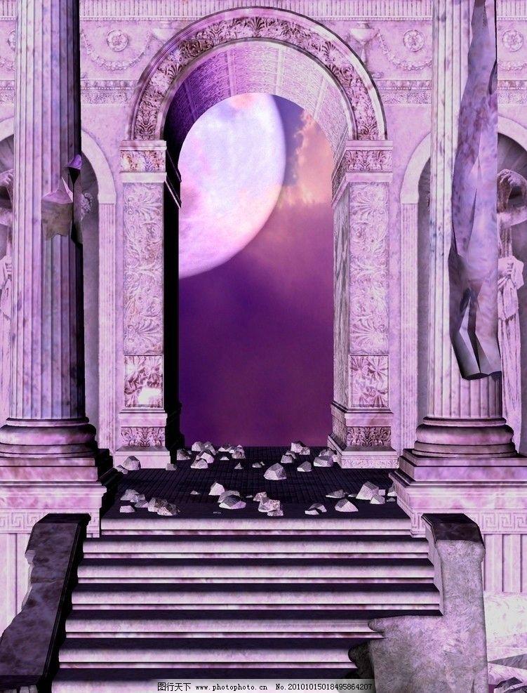 紫色浪漫背景 圆月图片_风景漫画_动漫卡通_图行天下