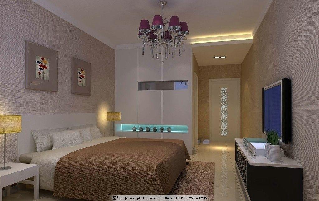 卧室卫生间 效果图 环境艺术 地毯 床头柜 电视 吊灯 走廊 暗藏灯槽