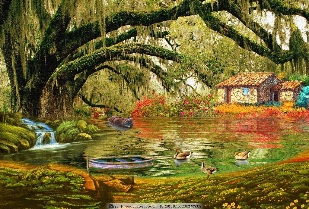 山水 风景画 风景油画 油画风景 瀑布 碧水 波浪 河流 湖泊 流水 房子