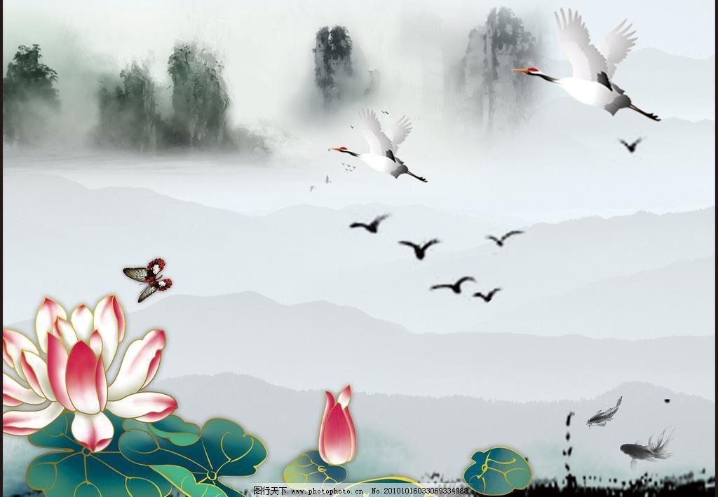 中国风 白鹤 传统艺术 风景 荷花 荷叶 蝴蝶 中国风素材下载