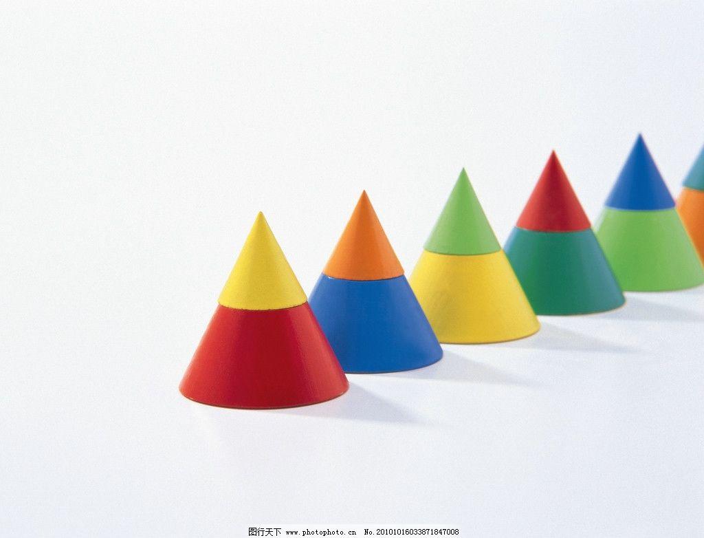 彩色方块 学习用品 三角形 三角体 圆锥体 玩具 积木