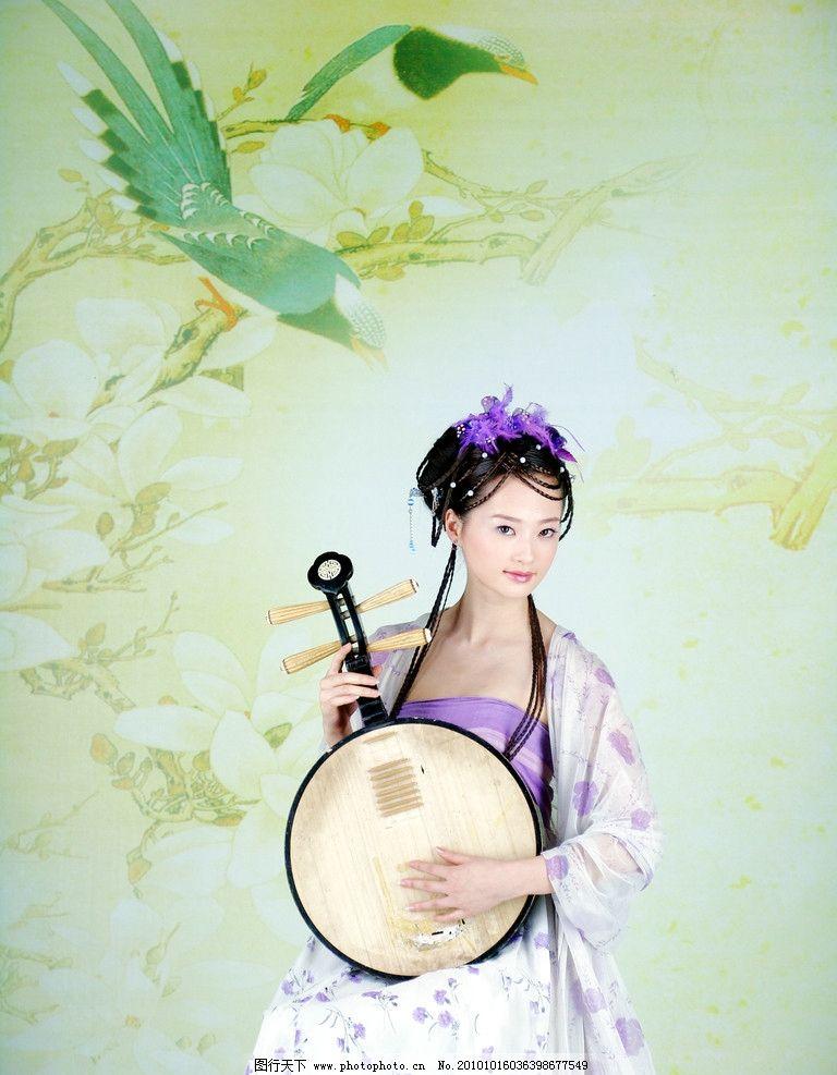 古典美女 古装 琵琶 乐器 少女 女孩 弹琴 人物摄影