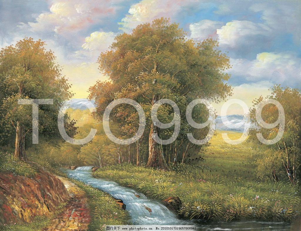 田园风景 蓝天 远山 田野 树木 树林 小溪 草地 小路 小径 花朵 手绘