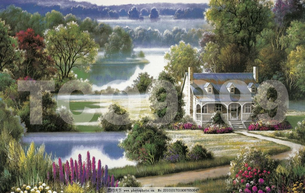 油画 田园风光 风景油画(91x61厘米)图片