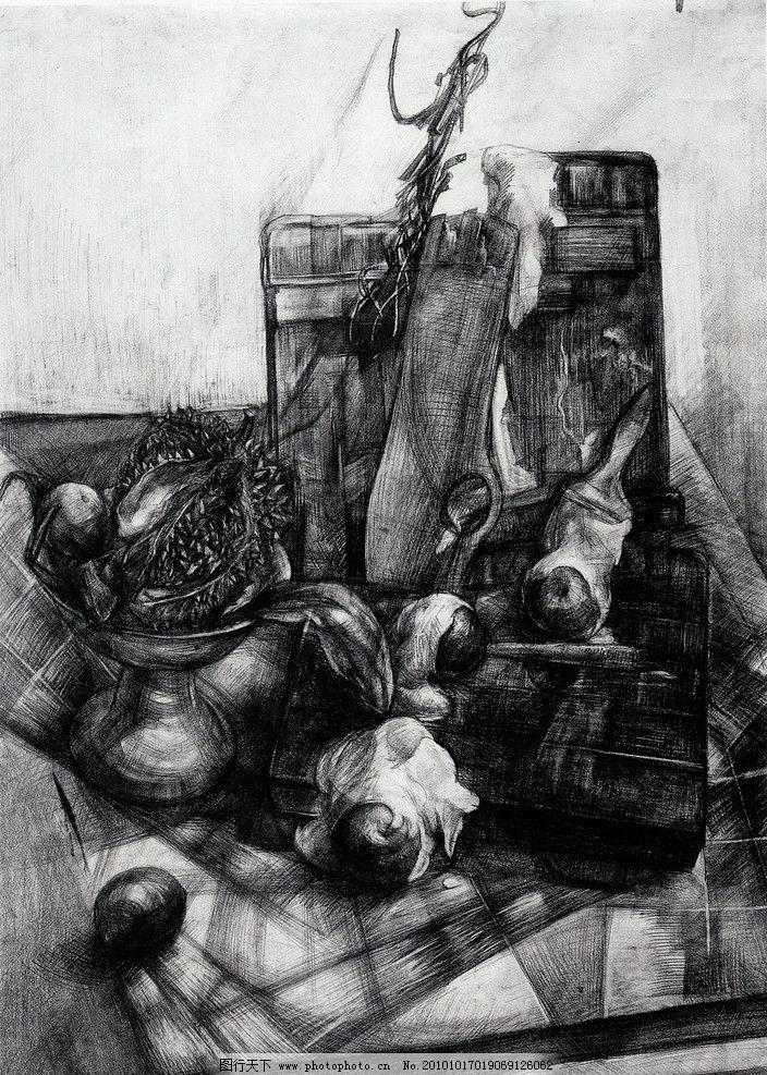 师生作品 高考素描 大学素描 静物素描 榴莲 锅 洋葱 蒜头 木头 木材