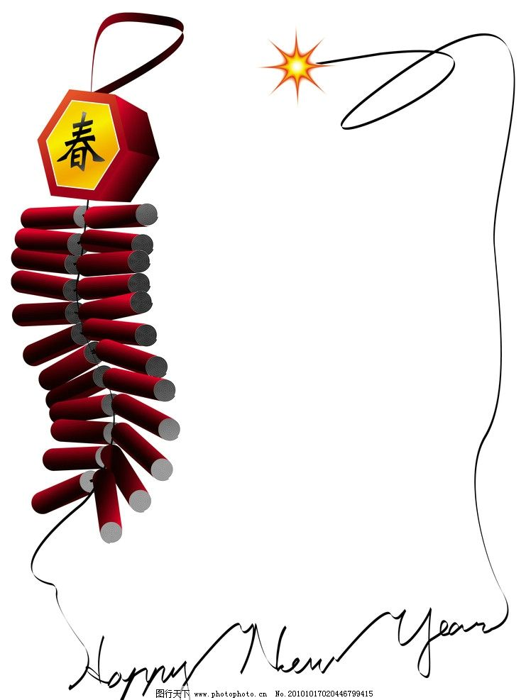 春节鞭炮图片_边框相框