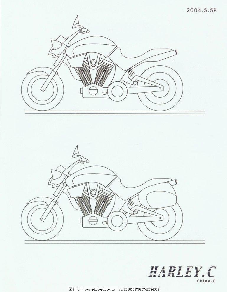 手绘摩托车 交通工具 现代科技