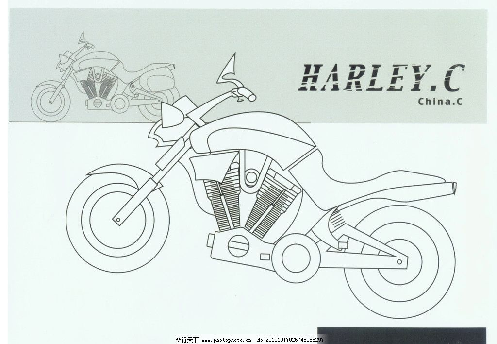 手绘摩托车图片