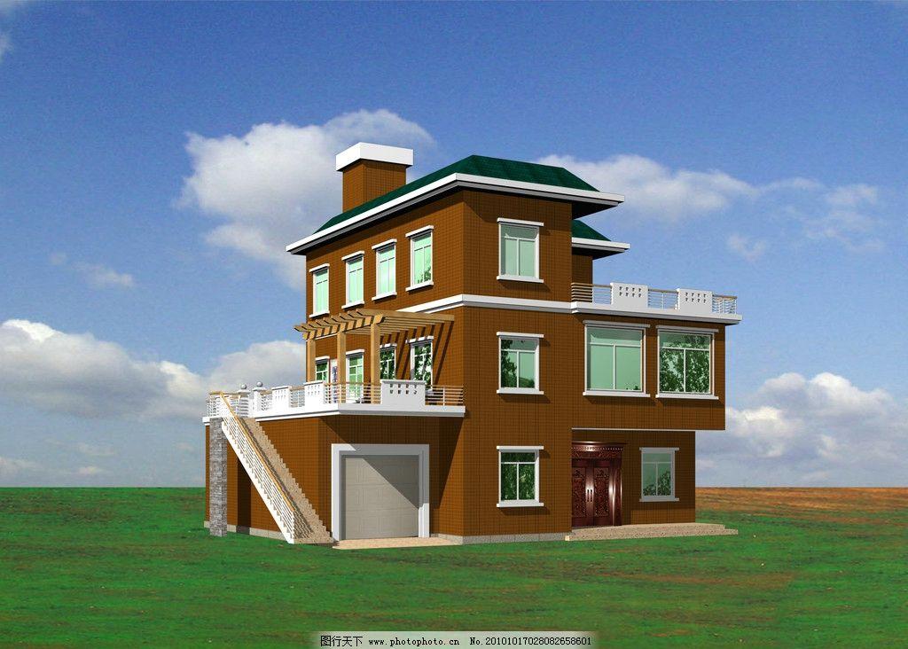 别墅外观效果图 芬兰木葡萄架 外墙砖 现代别墅 建筑设计 环境设计