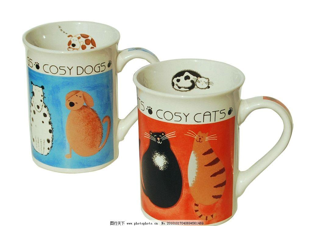 手绘卡通猫杯子图片