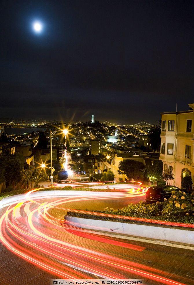 都市夜景 都市 夜景 夜晚 月亮 车流 路灯 摄影技术 b门 国外旅游