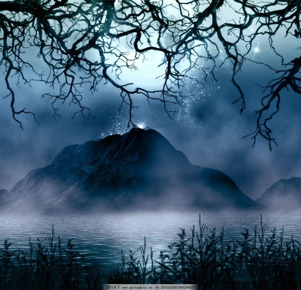 科幻世界 影楼背景 湖水 树枝图片