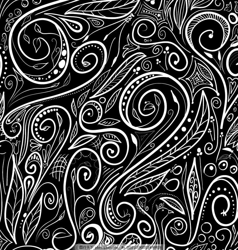 设计图库 底纹边框 背景底纹  黑白欧式花纹 底纹 欧式 欧洲 欧式花纹