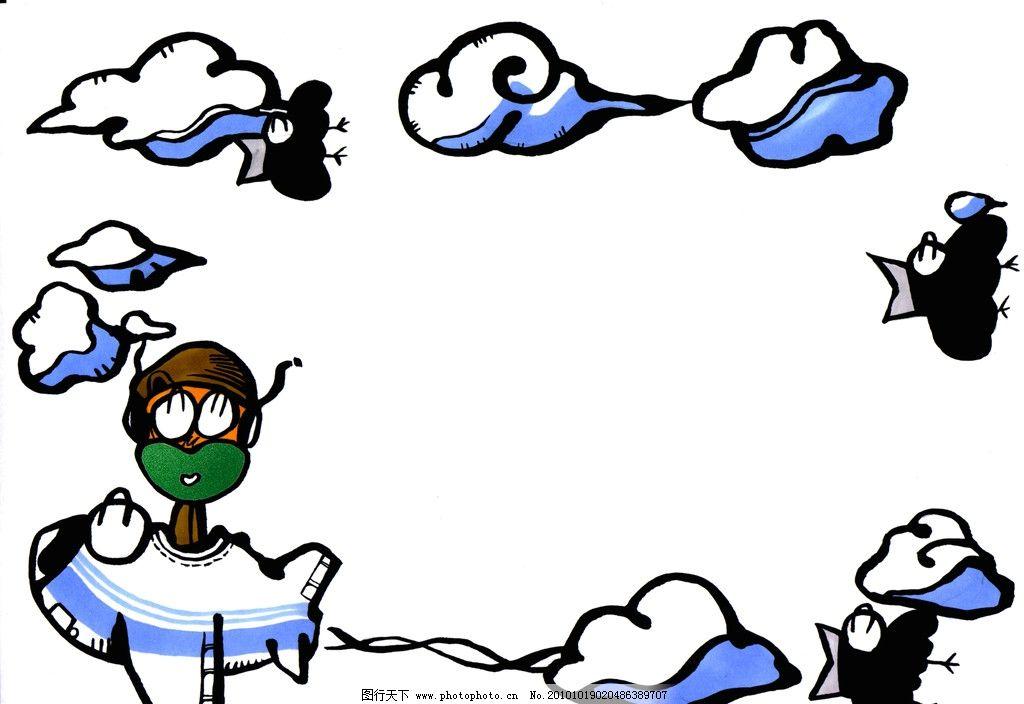 飞机动漫背景素材图片