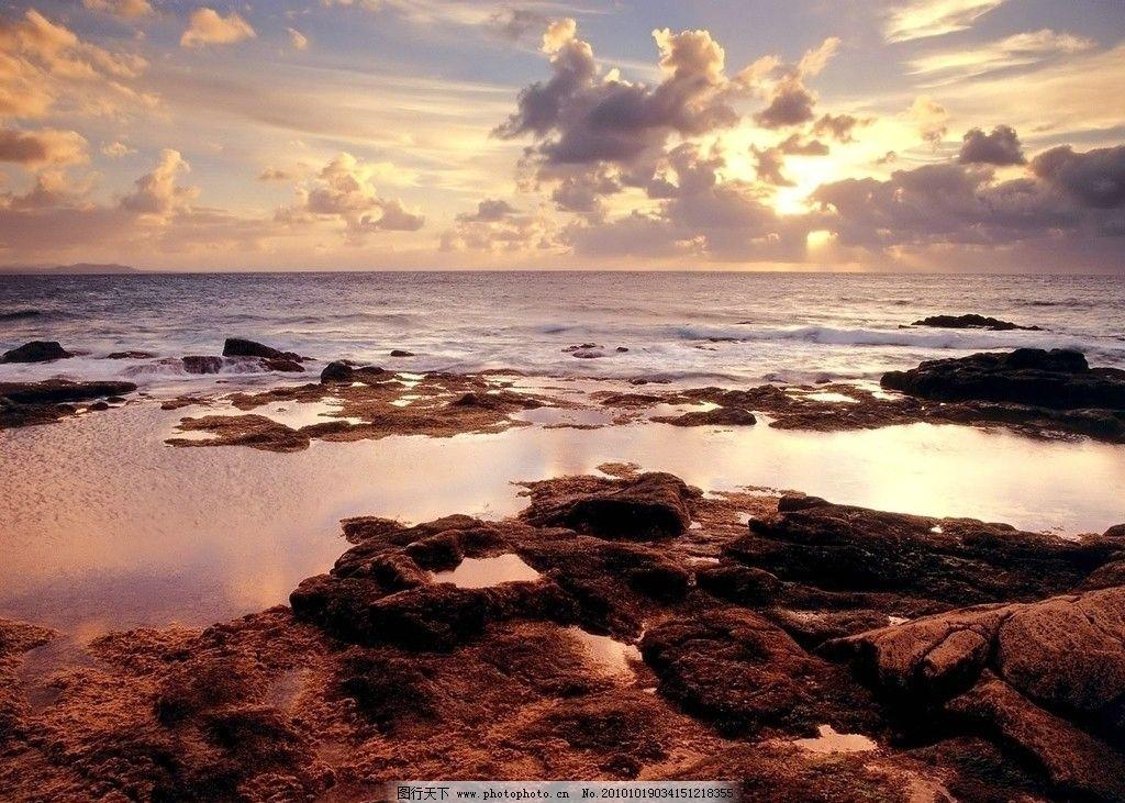 夕阳下的地平线图片_自然风景_旅游摄影_图行天下图库