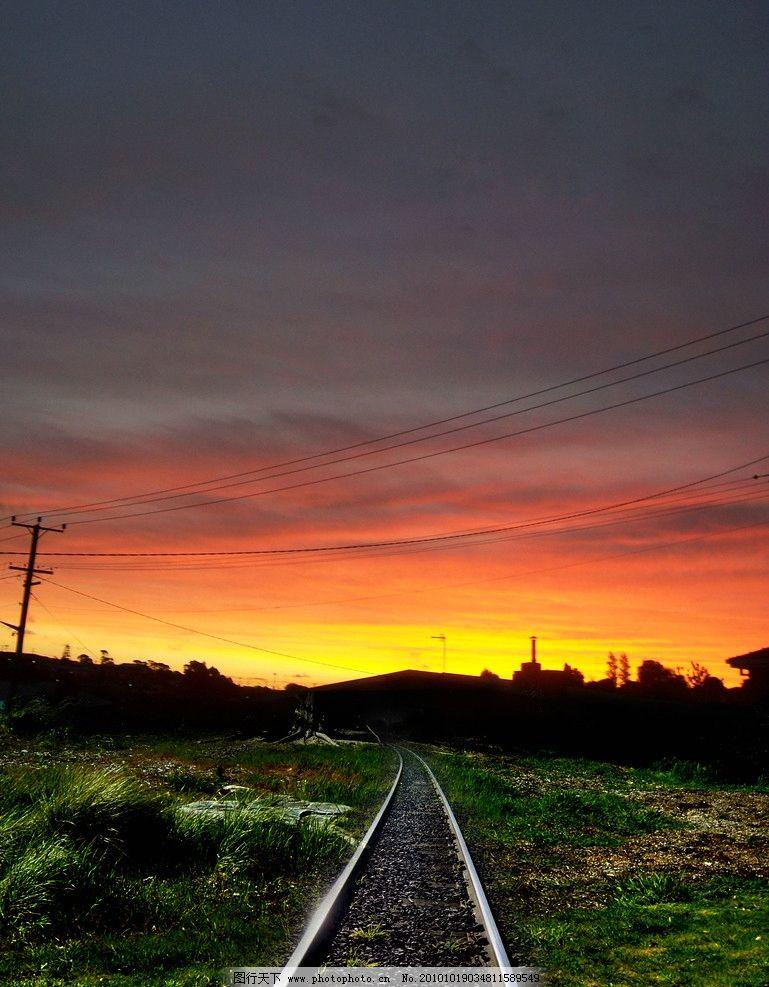 风光摄影图片 自然风光 风光摄影 天空景色 夕阳美景 铁路 晚霞云彩