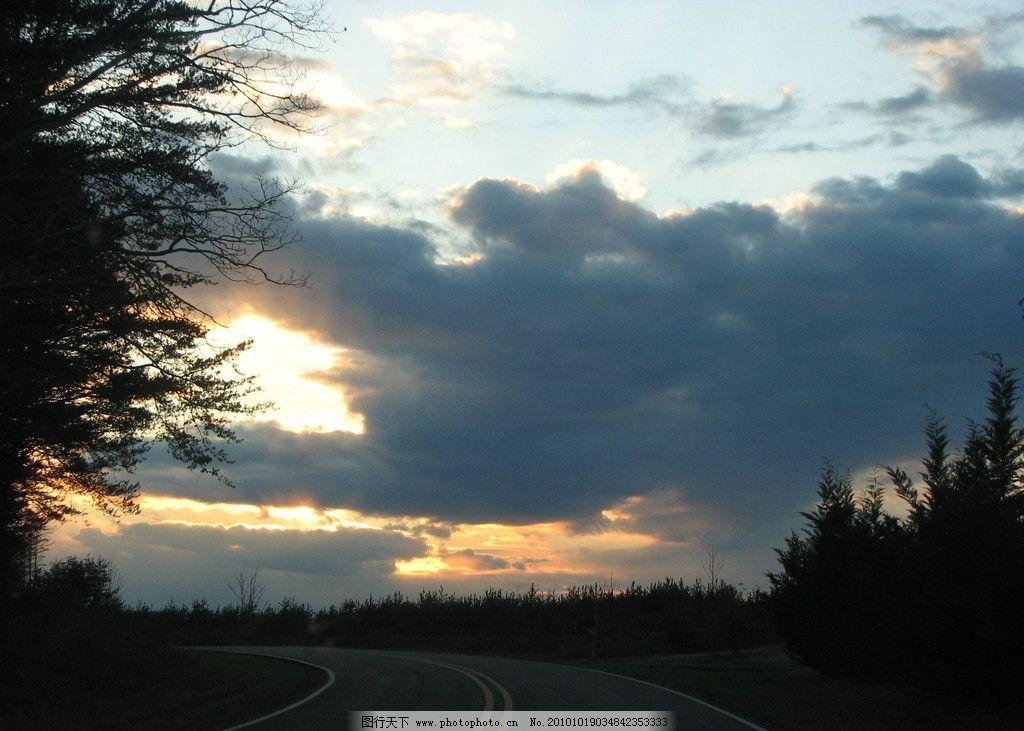 夕阳景色 风光摄影图片 自然风光 风光摄影 天空景色 夕阳美景 公路