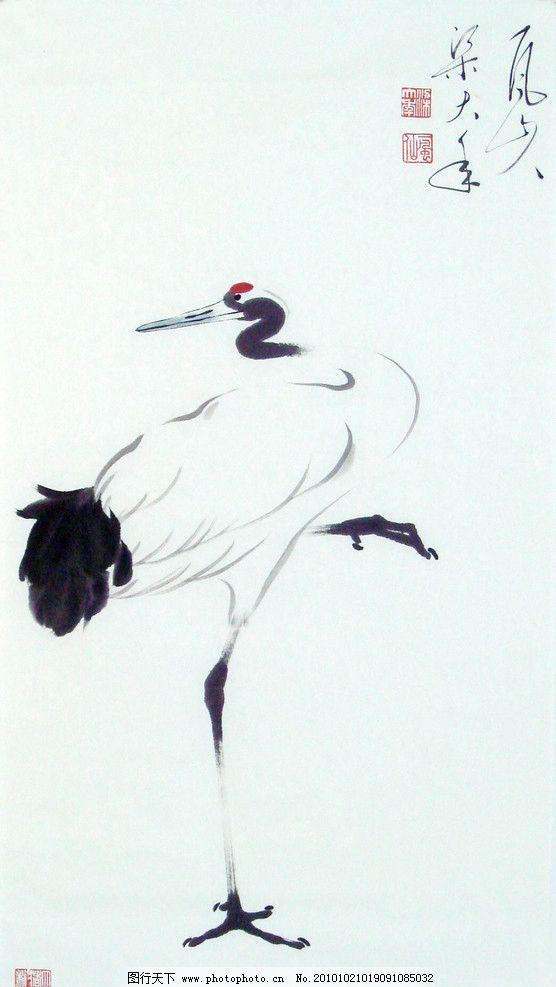 写意 丹顶鹤 仙鹤 美术 书画 日本鹤 japanese crane 一风山人梁大年